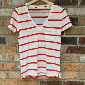 Madewell Classic V neck pocked striped tee sz XS